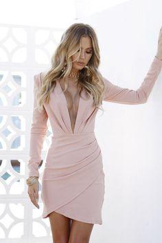Blush Pleated Plunging Neckline Long-Sleeve Dress