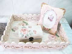 Shabby chic hand painted decorative objects from Vintage Monique Shop, Bucharest, Romania