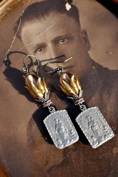 VIRGIN MARY RELIGIOUS Assemblage Earrings. by HallowedAdornments