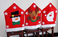1/4/6pcs Christmas Xmas Santa Hat Chair Covers Back Party Trees Table Decoration