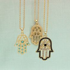 Hand of Hamsa Necklace Meaningful Necklace by ElisMeaningfulMakes