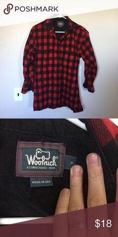Woolrich Jacket Red and black Buffalo check wool button down shirt/light jacket. Woolrich Tops