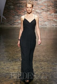 Jim Hjelm - Fall 2014. Occasions style 5429, noir luminescent chiffon A-line bridesmaid dress, gathered sweetheart bodice with crisscross straps, natural waist with gathered skirt, V-back, Jim Hjelm