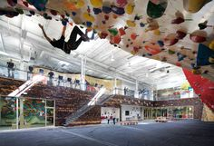 the brooklyn boulders facility in somerville, massachusetts is a dynamic creative locale that combines community, fitness, extreme sporting and culture.