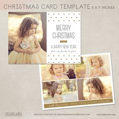 Digital Photoshop Christmas Card Template for photographers PSD Flat card - Modern Dots CC016