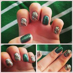 #Green #dotted #nail #design