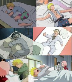 Naruto! :D He's so adorable when sleeping! And the Kakashi pillow is awesome, i need one! hehe.