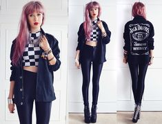 She Likes Checkerboard Crop Top, American Apparel Disco Pants, Freestyle Xtreme Jack Daniels Jacket, Jeffrey Campbell Spiked Damsels, Primar...