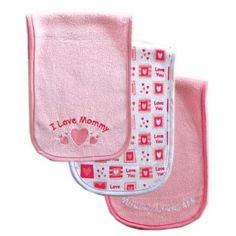 """3-Pack """"I Love"""" Drooler Baby Burp Cloth, Pink-Mommy Luvable Friends. $4.99"""