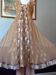NEW PAKISTANI INDIAN FANCY WEDDING SHAADI SHALWAR KAMEEZ DRESS 3PC MEDIUM SUIT