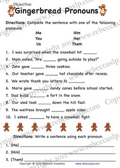 Gingerbread pronoun worksheets. From rebeccaslp.com/blg/ Gingerbread House Parties, Gingerbread Houses, Pronoun Worksheets, Complete Sentences, Language Activities, House Party, Teacher Stuff, Language Arts, Homework