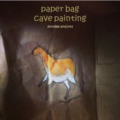 Paper bag cave painting activity for picture book The Secret Cave by Emily Arnold McCully. From Doodles and Jots.