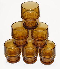 Set of 6 Vintage Libbey Glassware Amber (Topaz) 9.25 Oz Water Goblets Georgian Pattern