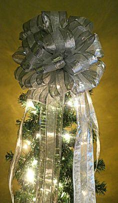 Christmas Tree Topper  Silver Tree Bow by WeddingsAndWreaths