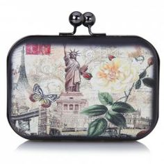 $9.66 Party Women's Evening Bag With Print and Kiss-Lock Design