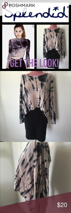 Black Friday BOGOSplendid Tie Dye Crop sweater Super cute! Wear with black jeans and leggings! Good condition Splendid Sweaters