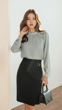 Pearl Accent Drape Frill Blouse - Styleonme Source by - Asian Fashion, Hijab Fashion, Fashion Dresses, Women's Fashion, Blouse Styles, Blouse Designs, Korean Blouse, Frill Blouse, Blouse Outfit