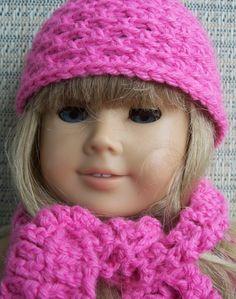 American Girl Doll Hat & Scarf Set