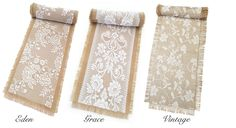 Hessian & Lace or plain hessian Table Runners made to your required length. www.marrighi.com.au