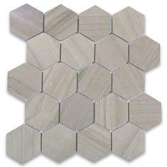Athens Grey Wood Grain 3 inch Hexagon Mosaic Tile Polished