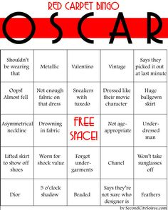 Bingo Cards  What's an Oscar party without some Bingo to keep things interesting? Head over to Second City Soiree's website for the free printable cards.