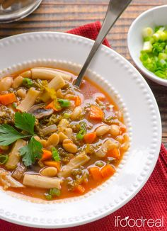 Slow Cooker Pasta e Fagioli Soup is vegetarian Italian soup recipe with beans, pasta, tomato sauce and kale.   ifoodreal.com