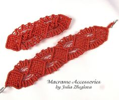 Braided Bracelets – Macrame Bracelet and Hairclip, Red Set – a unique product by makrame-belts on DaWanda