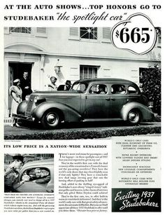 Vintage Ad - 1937 Studebaker Motor Car...and only $665.00!