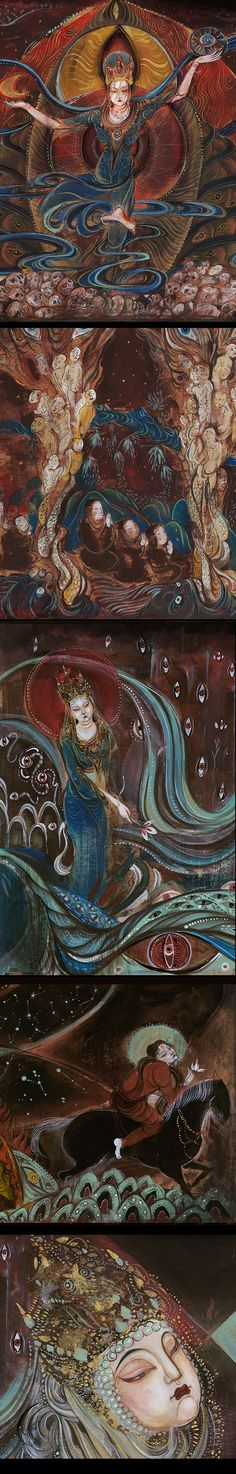 《鬼吹燈》壁畫原畫-张渔Yu_岩彩,壁畫,鬼吹燈_涂鸦王国插画