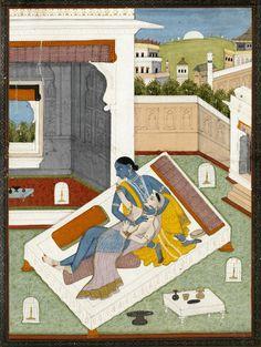 Krishna and Radha embracing, gouache on paper, Pahari, probably Mandi, ca. Indian Gods, Indian Art, Krishna Radha, Art And Architecture, Art Forms, Wall Murals, Erotic, Miniatures, Kids Rugs