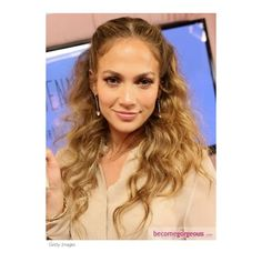 Jennifer Lopez Pinned Back Wavy Hairstyle Jennifer Lopez Hairstyles... ❤ liked on Polyvore