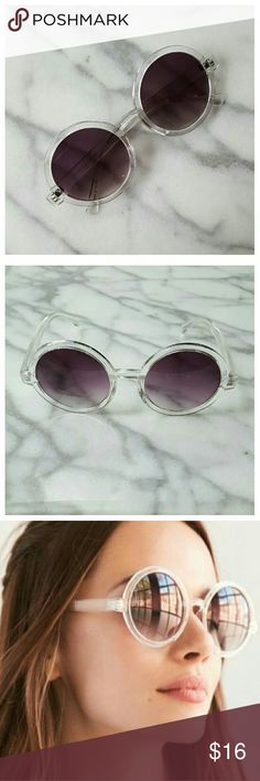 """Brunch Time Round Shades - Clear Oversized round sunglasses with dark gray gradient lenses and clear plastic frames. Width 5.75"""", lens height 2.5"""", earpiece length 5.5"""". 100% UVA/UVB protection. Urban Outfitters Accessories Sunglasses"""