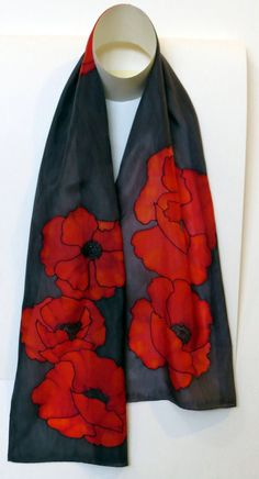 Hand hemmed and hand washable. Hand Painted Dress, Hand Painted Fabric, Painted Silk, Silk Art, Designer Scarves, Textiles, How To Dye Fabric, Linocut Prints, Tie Dye Shirts