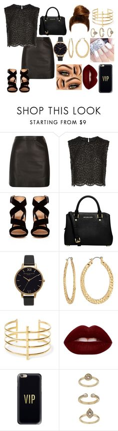 """Rock 'n Roll"" by audreymdesigns ❤ liked on Polyvore featuring River Island, Costarellos, Gianvito Rossi, MICHAEL Michael Kors, Olivia Burton, Fragments, BauXo, Lime Crime, Casetify and Topshop"