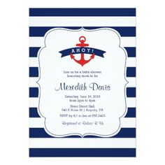 Ahoy! Nautical Baby Shower Invitation - baby shower ideas party babies newborn gifts