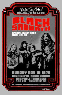 "Black Sabbath Concert Poster 1978 Nashville TN.. • 100% Mint unused condition • Well discounted price + we combine shipping • Click on image for awesome view • Poster is 12"" x 18"" • Semi-Gloss Finish • Great Music Collectible - superb copy of original • Usually ships within 72 hours or less with > tracking. • Satisfaction guaranteed or your money back. Sportsworldwest.com"