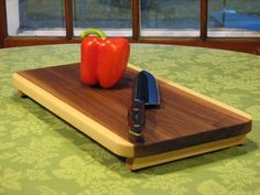 Black Walnut and Ash wooden Cutting Board with feet-416 on Etsy, $57.14 AUD