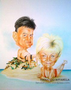#Caricatura regalo coppia che ama i viaggi, il caldo ed il mare #christmas #gift by Ferruccio Biffarella