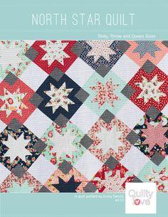 North Star PDF Quilt Pattern - Digital Download.  Modern Star quilt. Fat Quarter Friendly. #quiltpattern #quiltylovepatterns.