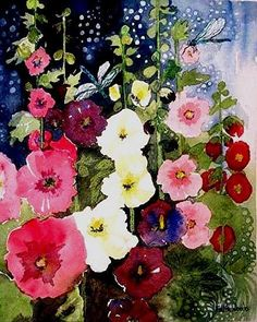 """ybb55: """" Hollyhocks and Dragonflies by Esther Woods """""""