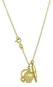 Gargantilha folheada a ouro c/ pingentes em forma de baton e frasco de perfume - profissão maquiadora - Linha Profissões-Clique para maiores detalhes