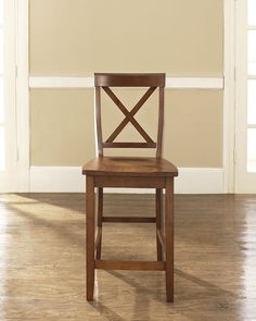 Crosley Furniture CF500424-CH X-Back Bar Stool in Classic Cherry Finish with 24 Inch Seat Height - Set of 2