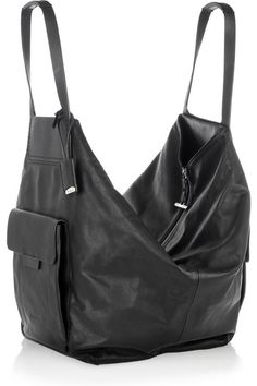 Oversized Leather Shoulder Bag from Jil Sander. I would like this do much more if it was brown. Shop at Stylizio for womens and mens designer handbags luxury sunglasses watches jewelry purses wallets clothes underwear more! My Bags, Purses And Bags, Leather Shoulder Bag, Leather Bag, Shoulder Bags, Sac Week End, Hobo Style, Dolce & Gabbana, Chanel Handbags