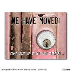 Change of address / new home / rustic pink door postcard