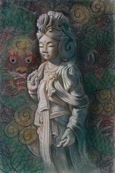 Goddess Kuan Yin Dragon, Spiritual Art Original Painting by Sue Halstenberg