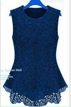 19d1834565d New Ladies Women Lace Blouse Sleeveless Shirt Vest Doll Chiffon Tops s M  XXXXXL