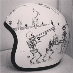 Day of the Dead design. Biltwell helmet painted by artist Rebecca Bonaci from Custom Lids. https://www.facebook.com/customlidsmalta