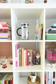 Nikki Rappaport's D.C. studio appt. // #shelves #pink #storage