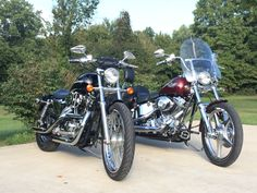 2003 sportster 1200 custom & 2003 soft tail. Bikes blues and barbecue!
