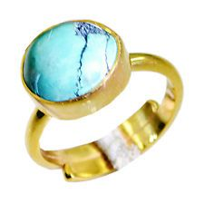 Turquoise Copper Ring L-1in engaging Turquoise gemstone AU KMOQ